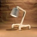 Fehér asztali steampunk hangulatlámpa vízvezeték csövekből LED izzóval, Otthon, lakberendezés, Lámpa, Asztali lámpa, Hangulatlámpa, Fémmegmunkálás, Minden lámpám egyedi formavilágú, melyek a funkcionalitásuk mellett különleges hangulatot is teremt..., Meska