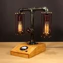 Balance, fényerőszabályzós, voltmérős,  2 izzós asztali csőlámpa., Otthon, lakberendezés, Férfiaknak, Lámpa, Steampunk ajándékok, A lámpa érdekessége, hogy ha teljesen feltekered a fényerőszabályzót használhatod olvasáshoz. Egy cs..., Meska