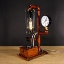 Steamlight, fényerőszabályzós, voltmérős,  edison izzós asztali csőlámpa.