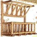 Fali ágbútor, Otthon, lakberendezés, Tárolóeszköz, Famegmunkálás, Mogyorófából készült falra akasztható egyedi tároló. A felső része levél, illetve iratok tárolására..., Meska