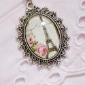 Vintage ezüst Párizs  nyaklánc, Ékszer, Nyaklánc, Antik ezüst színű, gyönyörűen díszített medálalapba helyeztem ezt a vintage Eiffel-tornyos ..., Meska