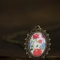 Matyó mintás ovális nyaklánc, Ékszer, Nyaklánc, Antik bronz színű, díszített medálalapba helyeztem ezt a matyó mintás képet.   A kép és a ..., Meska