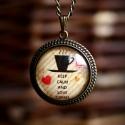 """""""Love Coffee"""" nyaklánc, Ékszer, Nyaklánc, Kávéimádóknak: bronz alapon """"kávéfoltos"""", szivecskés, feliratos kép- üveglencse alatt.  A k..., Meska"""