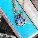 Levendulás üveglencsés nyaklánc, Ékszer, Nyaklánc, Antik ezüst színű medálalapba helyeztem ezt a szép levendulás képet képet.   A kép és a me..., Meska