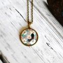 Őszi cicás üveglencsés  nyaklánc, Ékszer, Nyaklánc, Antik bronz színű medálalapba helyeztem ezt az őszi színárnyalatú cicás képet képet. A ké..., Meska