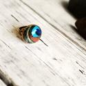 Pávatollas üveglencsés gyűrű, Ékszer, Gyűrű, Antik bronz színű gyűrűalapba helyeztem ezt a szép pávatollas képet.   A kép és az alap bel..., Meska