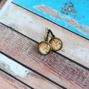 Mucha- franciakapcsos fülbevó, Ékszer, Fülbevaló, Mucha festménye alapján készült franciakapcsos fülbevaló. A kép és az üveglencse mérete 14..., Meska