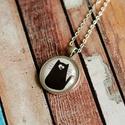 Bohém cicás üveglencsés nyaklánc, Ékszer, Nyaklánc, Antik ezüst színű medálalapba helyeztem ezt a cuki fekete cicát ábrázoló képet. Mosolyt csa..., Meska