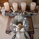 Bézs csipke gyertyás karácsonyi szett, Dekoráció, Ünnepi dekoráció, Karácsonyi, adventi apróságok, Karácsonyi dekoráció, , Meska