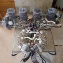 Karácsonyi adventi szett kopogtatóval szürke., Dekoráció, Ünnepi dekoráció, Karácsonyi, adventi apróságok, Karácsonyi dekoráció, , Meska