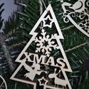karácsonyfadísz014, Dekoráció, Ünnepi dekoráció, Karácsonyi, adventi apróságok, Karácsonyfadísz, Famegmunkálás, 3 mm vastag rétegelt fából készült függeszthető, igény szerint színre festhető vagy fújható, 10 cm ..., Meska