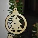 karácsonyfadísz016, Dekoráció, Ünnepi dekoráció, Karácsonyi, adventi apróságok, Karácsonyfadísz, Famegmunkálás, 3 mm vastag rétegelt fából készült függeszthető, igény szerint színre festhető vagy fújható, 5 cm á..., Meska
