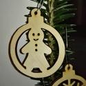 karácsonyfadísz, Dekoráció, Ünnepi dekoráció, Karácsonyi, adventi apróságok, Karácsonyfadísz, Famegmunkálás, 3 mm vastag rétegelt fából készült függeszthető, igény szerint színre festhető vagy fújható, 5 cm á..., Meska