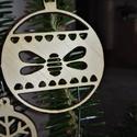 karácsonyfadísz025, Dekoráció, Ünnepi dekoráció, Karácsonyi, adventi apróságok, Karácsonyfadísz, Famegmunkálás, 3 mm vastag rétegelt fából készült függeszthető, igény szerint színre festhető vagy fújható, 7 cm á..., Meska