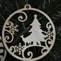 karácsonyfadísz034, Dekoráció, Ünnepi dekoráció, Karácsonyi, adventi apróságok, Karácsonyfadísz, Famegmunkálás, 3 mm vastag rétegelt fából készült függeszthető, igény szerint színre festhető vagy fújható, 9 cm á..., Meska