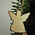 karácsonyfadísz054, Dekoráció, Ünnepi dekoráció, Karácsonyi, adventi apróságok, Karácsonyfadísz, Famegmunkálás, 3 mm vastag rétegelt fából készült függeszthető, igény szerint színre festhető vagy fújható, 5*4 cm., Meska