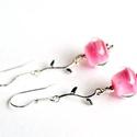 LADY PINK, lámpagyöngy fülbevaló ezüst ágacskával, Saját készítésű, púder pink színű lámpagy...