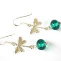 SZITAKÖTŐTÁNC, lámpagyöngy fülbevaló ezüsttel, A fülbevalót saját készítésű, aqua színű ...