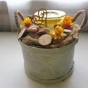 Vintage fehér lepkés kosár-asztaldísz, Otthon, lakberendezés, Dekoráció, Ajtódísz, kopogtató, Koszorú, Virágkötés, Meguntad már a megszokott asztaldíszeket? Válaszd ezt a vintage őszi kosár, asztaldísz! A kosárban ..., Meska
