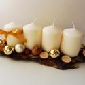 Modern adventi asztaldísz!, Dekoráció, Otthon, lakberendezés, Ünnepi dekoráció, Karácsonyi, adventi apróságok, Virágkötés, Adventi koszorú kicsit másképpen. Asztaldíszként használható fa darabra helyezett adventi dísz. Ez ..., Meska
