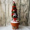 Karácsonyfa asztaldísz, Otthon, lakberendezés, Dekoráció, Ünnepi dekoráció, Karácsonyi, adventi apróságok, Virágkötés, Szívecskés cserépben elhelyezett karácsonyfa, amely kiváló asztaldíszként használható. A magassága ..., Meska