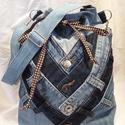 Farmer táska egyedi készítéssel, Táska, Válltáska, oldaltáska, Farmer derékpántokból készült táska. Belseje vászonnal bélelve. Válra akasztható állítha..., Meska