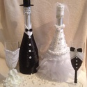 Esküvői szett ( pezsgő + pohár) /házassági évforduló/, Esküvő, Nászajándék, Esküvői dekoráció, Rendelésre készülő termékek, más színösszeállításban is. Örök emlék esküvőre, házas..., Meska