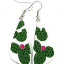 Kaktuszos  ékszergyurma fülbevaló , Ékszer, Ékszerszett, Fülbevaló, Ékszergyurmából készítettem a fülbevalót (a minta nem festett), felületén texturált része..., Meska
