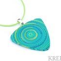 Kék-zöld spirál, ékszergyurma nyaklánc , Ékszergyurmából készítettem ezt az igazán eg...