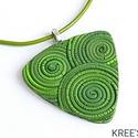 Zöld spirálok - ékszergyurma nyaklánc, Süthető gyurmából készítettem ezt az igazán...