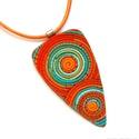 Narancs-türkiz spirálos ékszergyurma nyaklánc , Ékszergyurmából készítettem ezt a különlege...