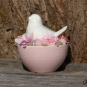 Egy tálka tavasz, Anyák napja, Dekoráció, Húsvéti díszek, Dísz, Kerámia, Mindenmás, Porcelán tálkában kapott helyet, egy kedves kis fehér porcelán madárka. A madár illetve a körülötte..., Meska