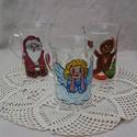 Karácsony mintás hőálló bögrék üvegfestéssel, Konyhafelszerelés, Bögre, csésze, Karácsonyi, adventi apróságok, Üvegművészet, Festett tárgyak, Vastag, hőálló üvegbögrék kézzel festett karácsonyi motívumokkal, melyek kedves kis kiegészítői leh..., Meska
