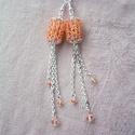 Amoreina - Amber hosszú fülbevaló swarovski kristállyal, Ékszer, Fülbevaló, Gyönyörű, borostyánszín fülbevaló szikrázó swarovski kristályokkal ékesítve.   A fülbevaló hossza: 1..., Meska