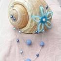 Jégvirág  - Kétsoros gyöngyfűzött nyaklánc, Ékszer, Nyaklánc, Medál, Jégvirág egy egyedi és elegáns, a kék jeges árnyalataiban játszó kétsoros nyaklánc, egy 60 cm hosszú..., Meska