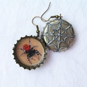 Katica pók söröskupak fülbevaló Halloweenre, Rémisztő és  vagány, pókos fülbevaló Eresus...
