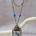 Kalitkába zárt madár üveglencsés nyaklánc, Bronz madárkalickát formázó medál bronz lánc...