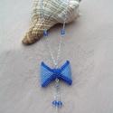 Masni nyaklánc swarovskival - Aqua, Elegáns kék masnis nyaklánc, sok-sok szikrázó...