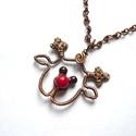 Rudolf -  réz nyaklánc, Vörösréz drótból, 6 mm-es korall és 4 mm-es ...
