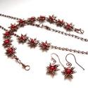 Csillagok - réz szett, Vörösréz drótból és piros üveggyöngyből k...
