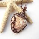 Antalya III. - vörösréz nyaklánc , Ékszer, óra, Nyaklánc, Medál, Vörösréz drótból és a török tengerpartról származó nyers, vízcsiszolta kavicsból készült nyaklánc.  ..., Meska