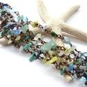 AKCIÓS Kék-zöld -  ásvány-réz nyaklánccsomag, Vörösréz drótból és kék, zöld ásványspli...