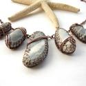 Antalya IV. - vörösréz nyaklánc , Ékszer, Nyaklánc, Vörösréz drótból és a török tengerpartról származó nyers, tengercsiszolta kavicsokból készült nyaklá..., Meska