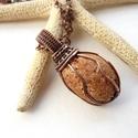 Antalya VI. - vörösréz nyaklánc , Ékszer, óra, Nyaklánc, Medál, Vörösréz drótból és a török tengerpartról származó nyers, vízcsiszolta kavicsból készült nyaklánc.  ..., Meska