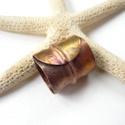 Perem - réz csőgyűrű, Ékszer, óra, Gyűrű, Vörösréz lemezből készült kovácsolt csőgyűrű. Belső átmérője 1,85 cm. Kis mértékben állítható, egy m..., Meska