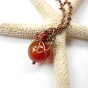 Karneol gömb - réz nyaklánc, Vörösréz drótból, 12 mm-es karneol gömbből;...