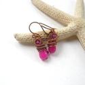 Pink csepp - réz fülbevaló, Ékszer, Fülbevaló, Vörösréz drótból, festett jáde cseppből és  szintén festett achát gyöngyből készült fülbevaló.  Hoss..., Meska