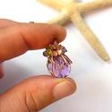 Lila gömb - réz nyaklánc, Vörösréz drótból és lemezből, 12 mm-es lila...