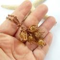 Sárga tulipánok - réz nyaklánc, Ékszer, Medál, Nyaklánc, Vörösréz drótból és 8 mm-es szintetikus citrin gyöngyökből készült nyaklánc. A medál magassága akasz..., Meska