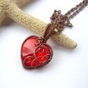 Szív - réz nyaklánc, Vörösréz drótból és swarovski szívből kés...